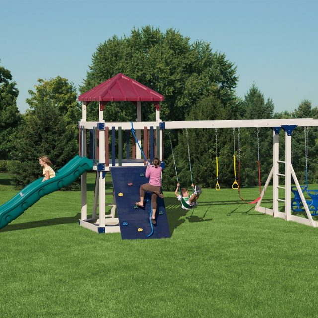 Playset with a slide and a swing set attachment from Adventure World Playsets