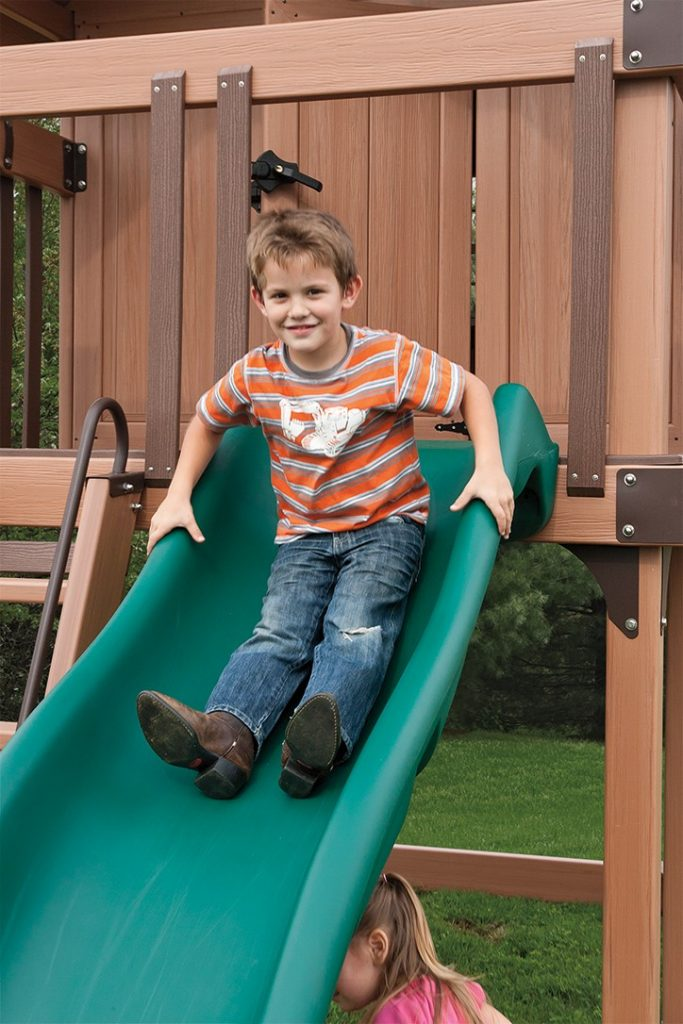 Customize your kid's outdoor playset with a slide from Adventure World Playsets