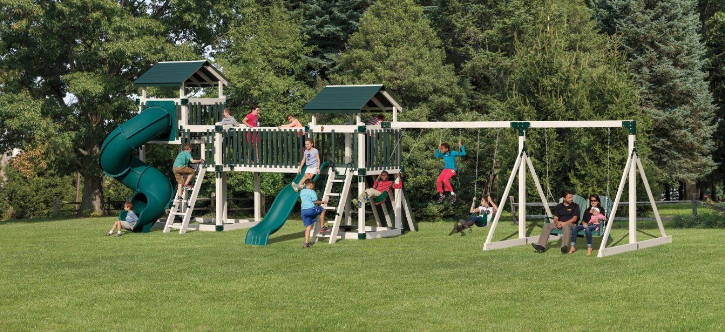 Swing sets for kid's from Adventure World Play Sets. Don't miss these high-quality vinyl swing sets
