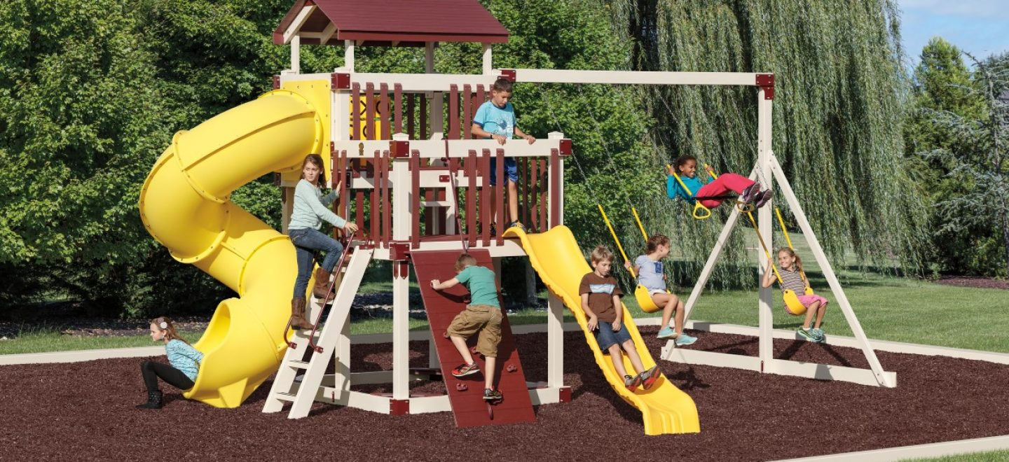 Customize your amish-made vinyl kids playset or swing set from Adventure World Play Sets.