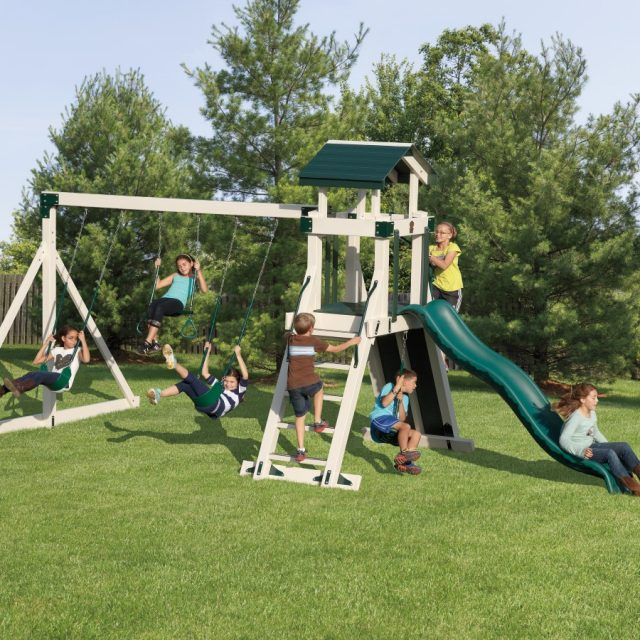 From Adventure World Playsets, the Frolic Zone Tower, an outdoor playset with a swing set tower