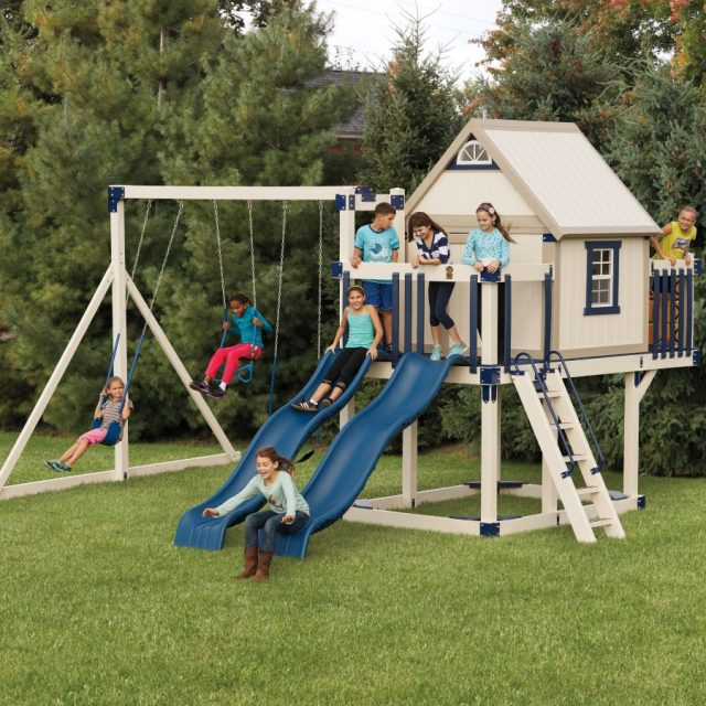 Happy Hideout Tower, an outdoor playset with a swing set tower