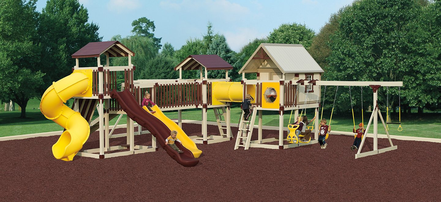 Rubber mulch makes the imagination station even safer.