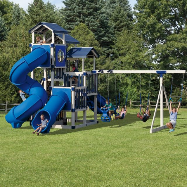 Jolly Jamboree Tower, an outdoor playset with a swing set tower