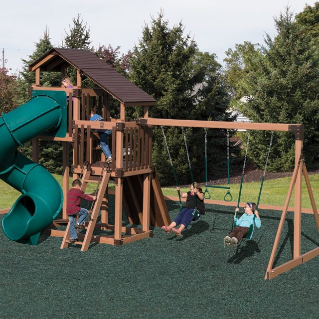 From Adventure World Playsets, the Discovery Dept Tower, an outdoor playset with a swing set tower