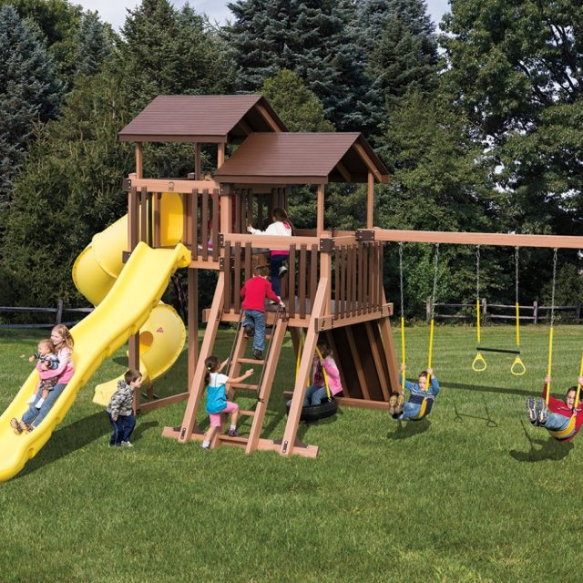 Adventure World Playset Good Time Tower, an outdoor swing set with a swing set tower