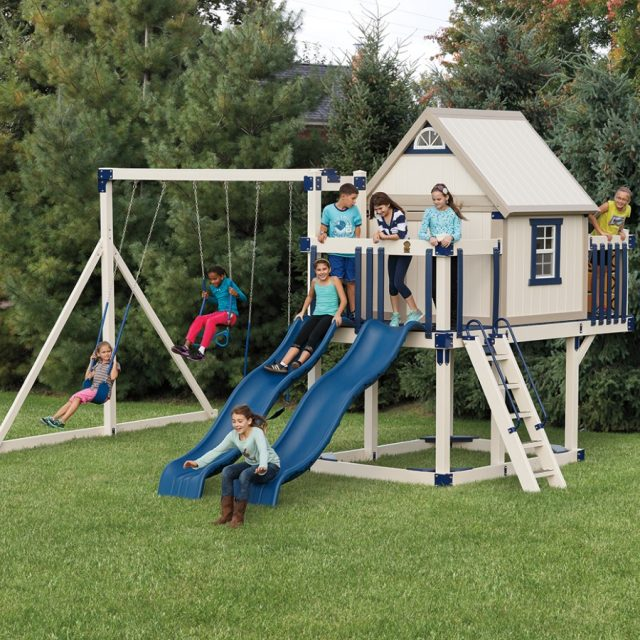 adventure world playset with swing sets and slides