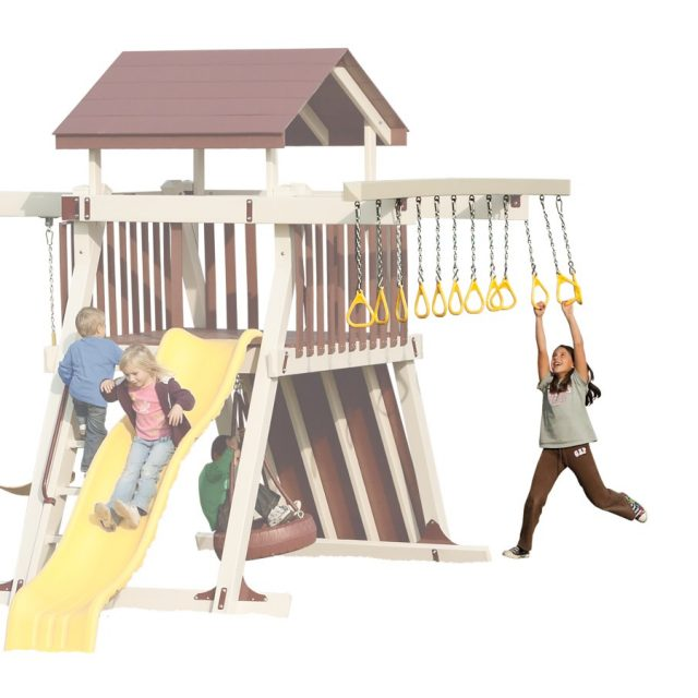 Trapeze climber accessory arms for wooden and vinyl playsets, towers, play houses houses and swing sets.