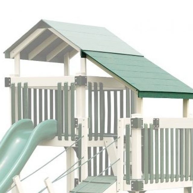 Extension roof on vinyl play set with playhouse