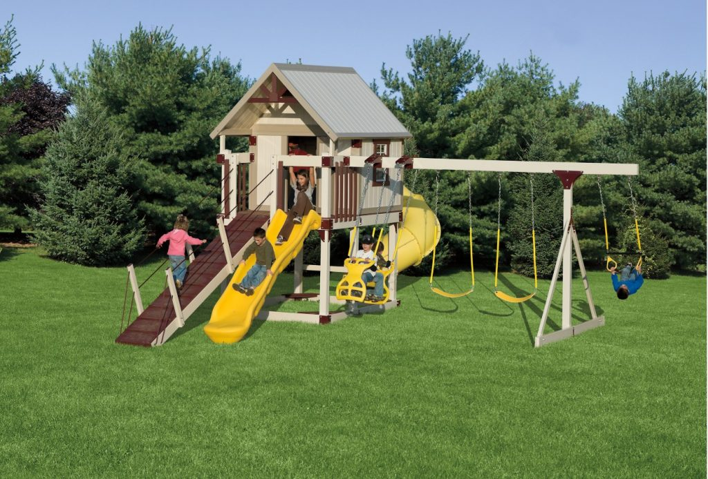 Happy Hideout Playset Package With Swings Amp Slide H68 7