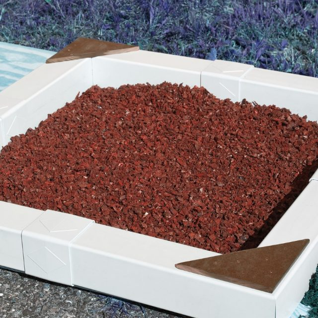 Red rubber mulch to make swing sets even safer, from Adventure World Play Sets