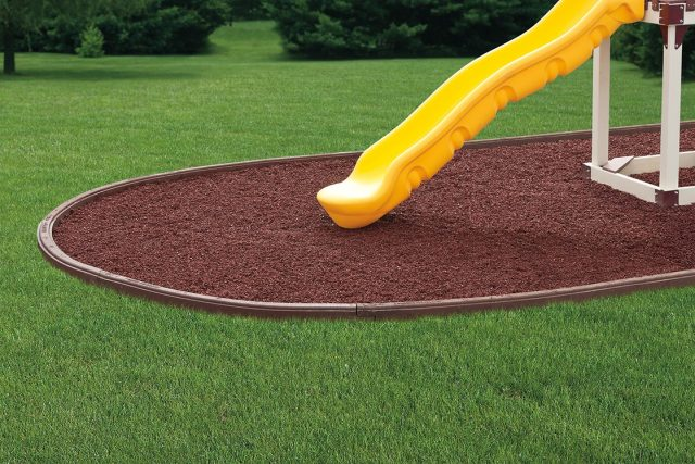 Rubber curbing and rubber. Rubber mulch makes swing sets safer.