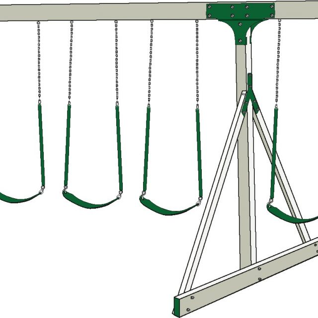 Four position swing set beam, a custom swing set option from Adventure World Playsets
