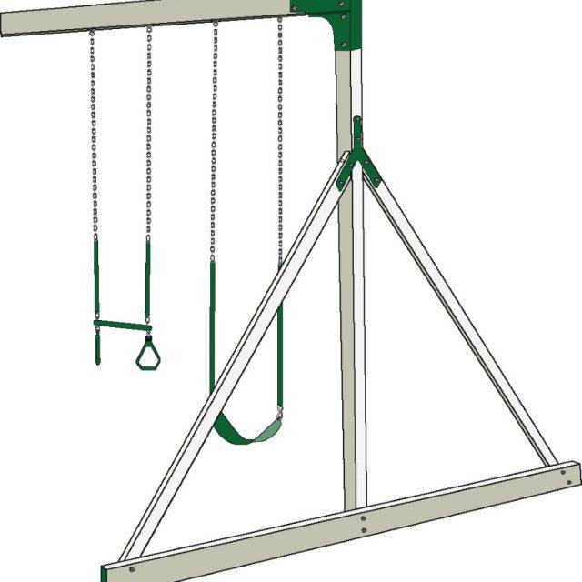2 Position swing set beam for a custom swing set