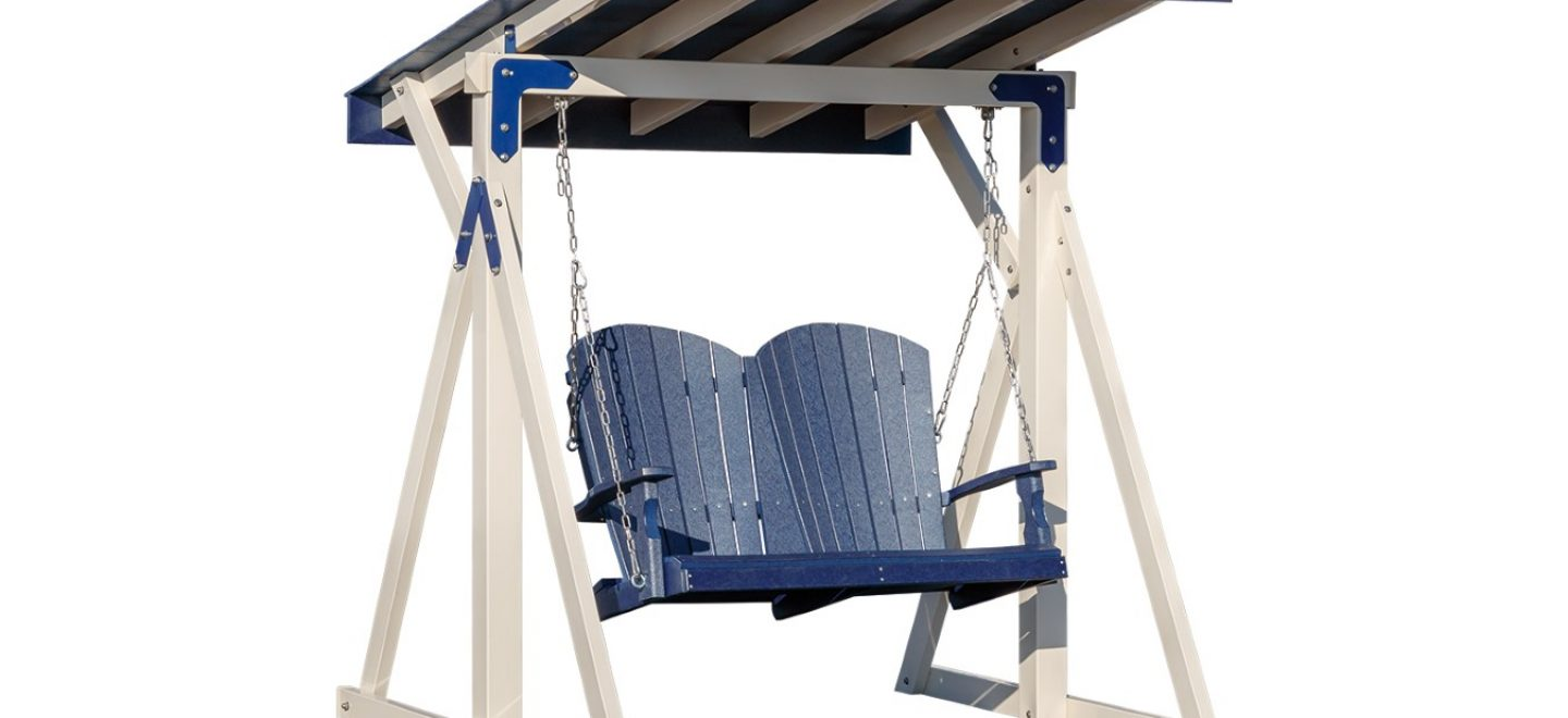 Covered love seat swings from Adventure World Play Sets