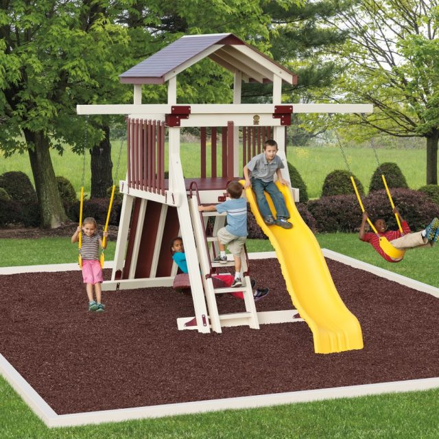 Giggle Junction Tower, an outdoor swing set with a swing set tower