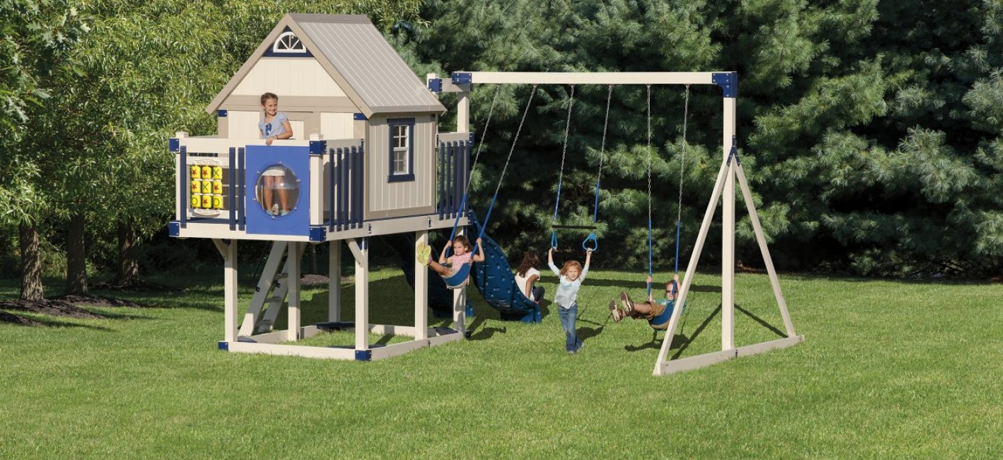 A variety of custom swing set beams from Adventure World Playsets