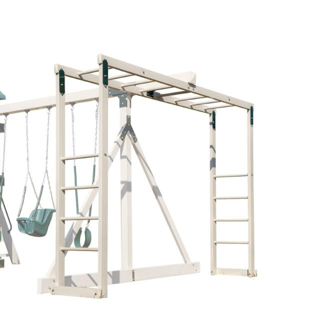From Adventure World Playsets, the Space Saver Monkey Bar, accessory arms for wooden and vinyl playsets, towers, play houses houses and swing sets.