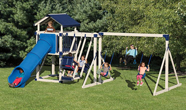 kids swinging and relaxing on playset