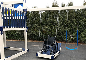 wheelchair swing on adaptive play set