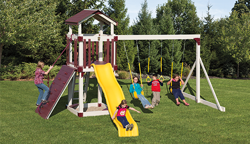 outdoor playset with sandbox