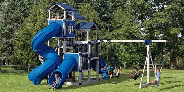 swing set towers with slides