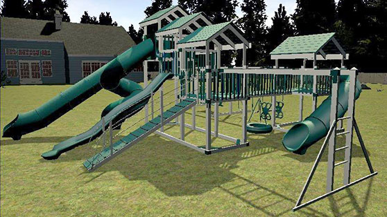 swing set built with 3d design center