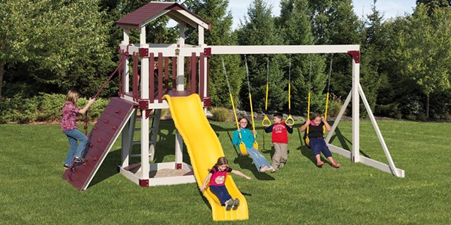 busy basecamp b44-6 small backyard swing set