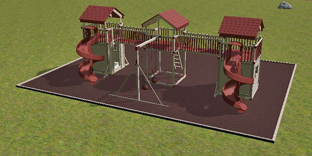 backyard castle on 3D playground design software