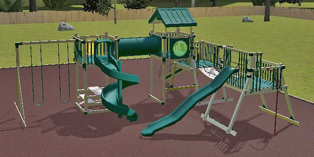 do it all backyard playground on 3D playground design software
