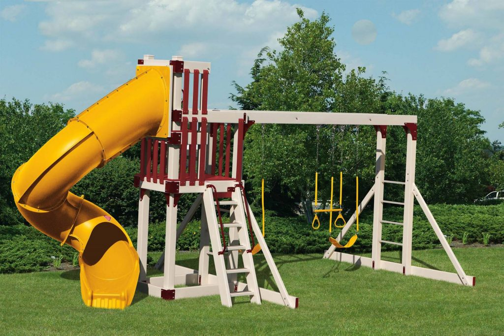 Custom playset with a yellow slide and tan and maroon beams