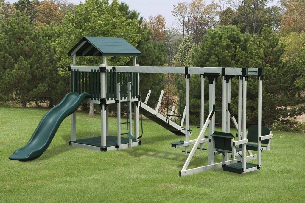 Custom playset with a green play tower cover, green slide and tan beams