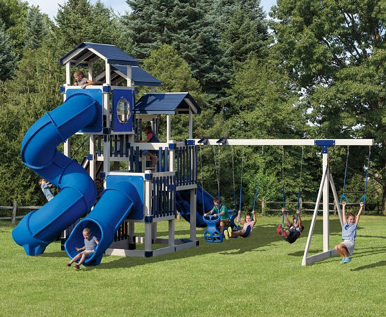 vinyl blue and white rainbow playset color