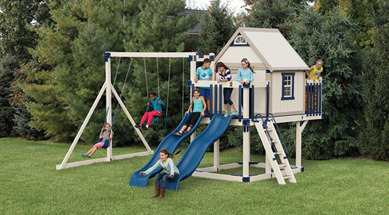 swing set with playhouse