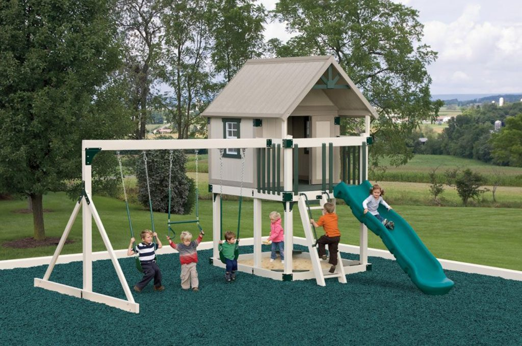 happy hideout playhouse with a slide and swing