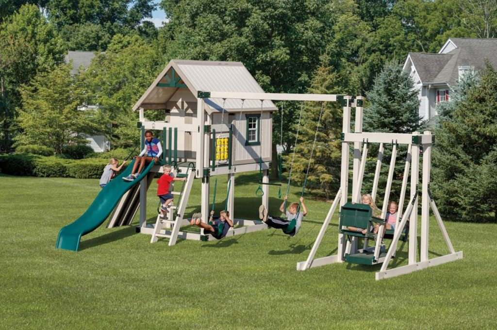 happy hideout swing set playhouse combo
