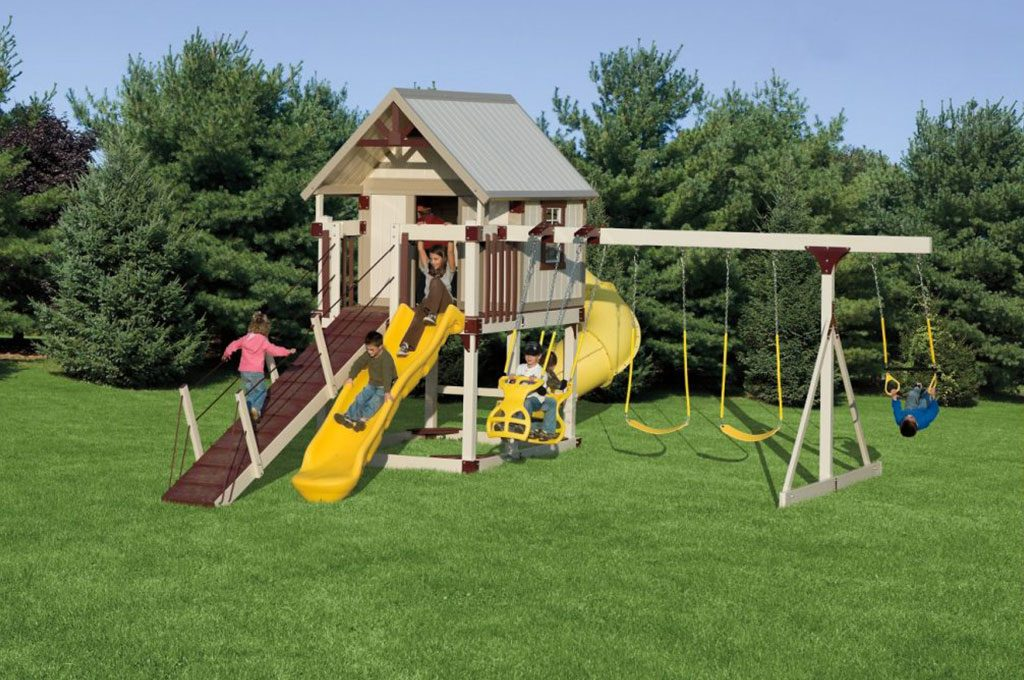 playhouse with a slide and swing