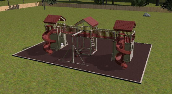 3d rendering of family swing set