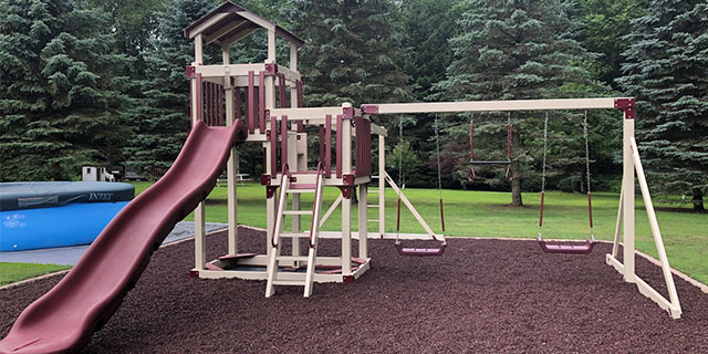 color coordinated home swing set