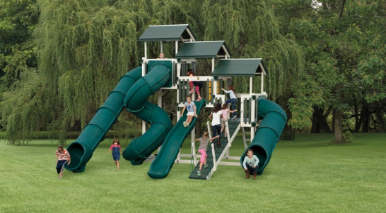 swing set used for outdoor fort