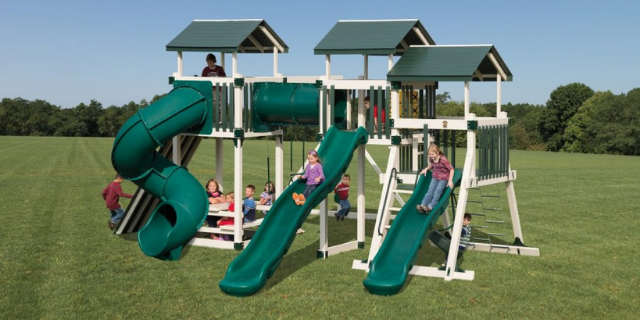 good time tower swing set with slides