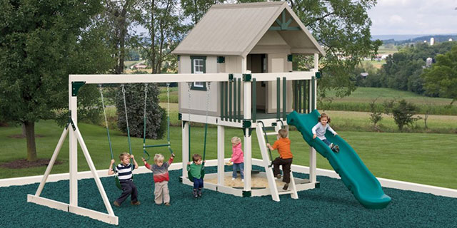 simple swing set with playhouse