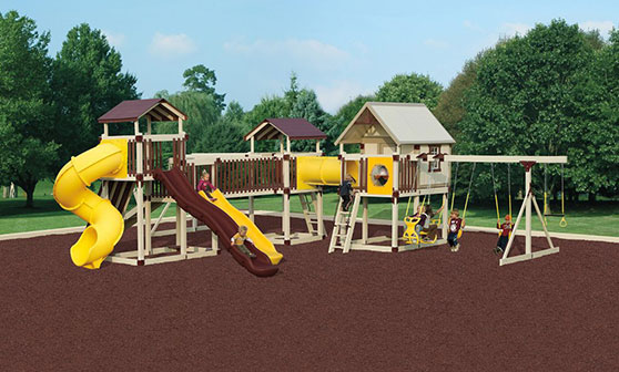 playground with red rubber mulch