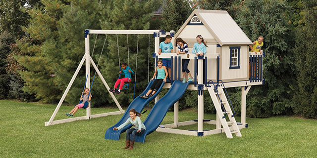 swing sets with a clubhouse